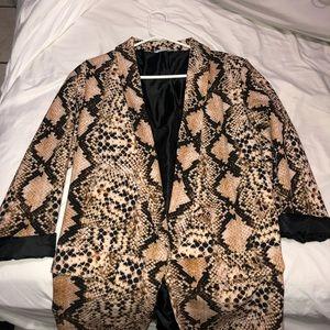 snake print over sized suit jacket